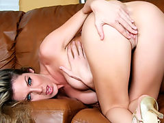 New Toy : Hot brunette babe Kayla Paige plays with her big tits and wet shaved pussy