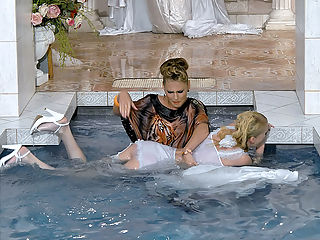 Bitchy Bride To Be In Wetlook Catfight : Kate is soon to be a married woman, but first she of course needs a wedding dress that really makes her shine. However, shes not pleased at all with what Zuzana Z has prepared for her, and after some arguing this bitchy bride to be even throws her gloves into the pool! Zuzana is not happy about this, but walks her clothed self into the pool to retrieve them.