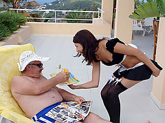 Hot holiday fuck : Ah, this is the life Sitting on the terrace of your hotel, enjoying a good book, the sunshine and a cool drink which is brought to you by a waitress whose uniform makes your dick stand on end. Now if you would ask the little servant for a blow job, would she oblige too?