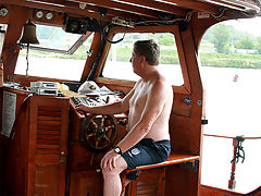 Senior banging a babe on his boat : Harold has taken Marketa on a boat trip along the river but she is all but interested. She can think of a lot of things that would be more fun to do. Like fucking for instance. But Harold seems to be more interested in boating... or is he?