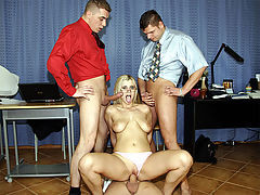 Fucked office girl : A blonde girl is applying for a job at an office. When the manager asks her to make some coffee she drops everything on the floor. Desperate she offers to do anything he wants so she ends up being fucked by all of the staff.
