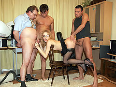 A foursome with the secretary : When a new secretary arrives the guys at the office always want to test her skills first. Well, she fails for vacuum cleaning but she sure as hell knows how to suck dick! In fact she wants to do anything to get this job and soon she is fucked by all the guys in turn, ending up with a layer of cream on her glasses!