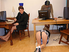 On your knees to suck cock : Michelle applies for a job as a secretary at a small company but... she really cant do anything! But I do give great blow jobs, she says so she is allowed to give a demonstration. After she sucked their dicks until theyre hard they fuck the dirty slut completely crazy. Hooray, I have a real job now! Wont my mother be proud of me?