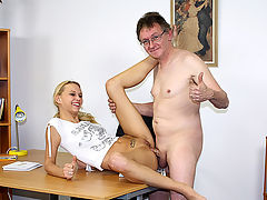 Former school director in action : Jan Willem is a former school director who has discovered that one of his ex pupils is a performer on an adult site. So he contacts the owner to see if he himself could do a video session with the girl. To his surprise, that is no problem at all...