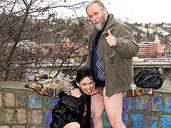 A hot walk : Bert has found himself a new sparring partner and this time he is taking her for a romanting walk... along the motorway. She is so sexy he simply cant keep his hands off her but Kristyna really doesnt mind. Not even when he wants to fuck her in the open...