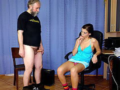 Horny tax inspector : An old man is visiting the revenue office to settle some financial problems. The inspector, who is a very young girl, has some curious ways of solving her problems. To begin with she gives the guy a spanking, telling him to drop his pants and jerk off for her. Later on he has to lick her pussy and fuck her too.