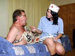 A horny nurse : An older man is lying on the bed. He feels very sick so he calls the doctor who send a young nurse around. In order to cure him she has to give the man a very painful injection so to comfort him she gives him a blow job too.