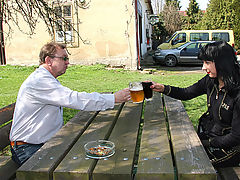 Its Tims lucky day! : It sure is Tims lucky day today. Just when he is enjoying a well earned beer a damsel in distress comes up to him for help. So, Tim gives her all he can Some change for the phone, a glass of cola to quench her thirst and a good fuck on top!