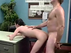 Fucking his secretary : A man is talking to his secretary about his sexual fantasies. A little later they are in 69 position on top of his desk. The girl lays down on her back so he can fuck her. A little later she blows his dick until he comes in her face.