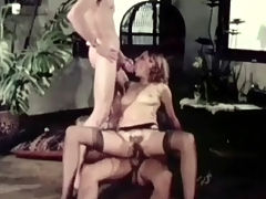 Accidental threesome : A couple is walking up some stairs and get welcomed by a guy who is waiting for them. A little later all three of them are naked and the girl is on her knees, sucking the guys cocks before she gets fucked by one of them.