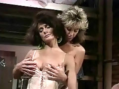 Vintage lesbian action : A girl in lingerie is sitting on the bed sorting her clothes out and talking to her girlfriend who is also just wearing lingerie. While fitting things on, the girls begin to stroke each other and the both of them end up on the bed having sex.
