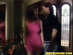 Vintage fuck : A guy has invited a girl over for a romantic evening. After a glass of champagne she takes her clothes off and rides his crotch. He takes off his trousers so she can lick his balls and blow him one until the both of them start fucking.