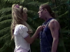Fucked in the garden : A gardener is busy with his job when the lady of the house comes up to him. It is pretty obvious she is horny as hell but he tries to resist her. To no avail Madame is determined to get laid today and shell do anything to get his dick!