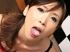 Asian girl gives blow job in the kitchen : An innocent looking Asian girl in a bikini gives a guy a treat in the kitchen. First she massages his dick while he still has his underpants on. Then she pulls them down and gives the guy a sucking that he will not forget for a long time!