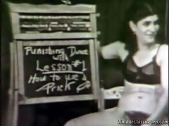 Sex lessons : In this vintage movie we see a couple in a classroom where sex lessons are given. First the woman demonstrates how to apply a condom. Lesson two is about tongue baths and she gives the guy a blow job. The final lesson is about fucking and when the guy lies down on his back the woman lowers herself over his dick.