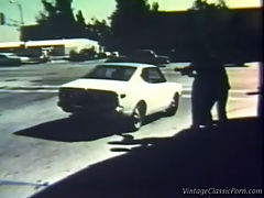 Horny hitch hikers : A guy drives along in his car and picks up two female hitch hikers. Back at his home the two girls seduce him and he fucks both of them in turn, ending up with two mouths giving him a blow job.
