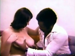 Big breasted interracial : In this classic film a black guy takes his white girlfriends to the fair. One of them shows him what to expect by virtually giving her ice cream a blow job. Back at home she shows him that she meant it too but not before he has played with her gigantic tits!