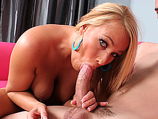 HoT Blond MILF Shows Stud How To Play : Melanie Monroe has gorgeous tits and legs that say spread me and Ralph Long is going to oblige. Showing her perfect breasts she grabs for his hardened cock. Sucking on the tip he moans with pleasure. On her knees sucking him off he undoes her thong to expose her wet pussy. Turning her around he probes her depths with his swollen sword. In the house she sucks his wang and mounts his steel like rod and rides him hard. Turning around for more pleasure she moans as she thrusts it deep into her cunt. Her turn and he licks her clit into a frenzy of pleasure. Plunging his cock deep into her from all sides he succumbs and finally blows his wad.