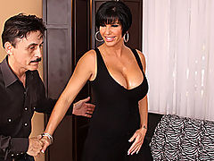 Shay Fox Shows Off Her Incredible Tits : Fucking huge silicone tits, a big fat ass and a horny cunt that needs to be fucked - short haired brunette MILF Shay Fox is the perfect package! She turns up at the door of stud Dirty Harry dressed to kill, her long legs and tight little pussy barely covered by her tiny black dress. Dirty Harry is dwarfed by the tall, dominant babe, and he cant wait to pull those perfect knockers out of her top and start sucking on the little hard nipples. Then its dirty Shay who does the sucking, giving Harrys cock a good going over with her slutty mouth. After that, its reverse cowgirl time - Shay really knows how to show off her sensational body!