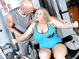 BBW Blond Veronica Works Over Her Trainer Hardcore! : Caught snacking on a pizza, young BBW, Veronica Vaughn has disappointed her trainer, Christian and is swiftly kicked out of the Cash for Chunkers program! In an effort to get back on the roster, she whips out Christians prick and blows him before he can refuse. This big-boned whore keeps her end of the bargain by fucking the living shit outta Christian. Watch him drill her shaved poon sideways on the couch as all those curves ripple and jiggle like a jello mold! Youve made the cut for now bitch!