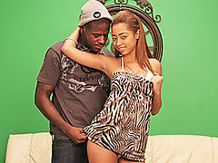 Angel Cummings Gets Filled To The Brim : Smiling, light skinned black babe Angel Cummings wants a hot load in her moist pussy! The beautiful babe teases her man Julius Ceazher by pulling her big tits out of her top and then bending over in front of him on the sofa. With an ass like that, this petite black babe is begging for a big dick! She sucks Juliuss fat prick and then takes it in her moist little hole, which is completely shaved. Julius pounds her like a madman with no condom, intent on filling Angels pussy with a thick load of his man spunk. Thats exactly what he does, groaning as he lets go, spurting into Angels pussy and filling her to the brim.