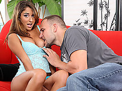 Hot Eighteen Year Old Pole Rider : There is no better job in the world than getting to be the guy to introduce a new eighteen year old hottie to the world of porn. J Mac gets that treat today with a cute brunette named Nicole Grey. She sits on a couch in pale blue tank and pantie combo sharing some of her deepest secrets. You would never guess she is new with the way she attacks J Mac, stripping him out of his pants and polishing his knob to a shine. Once naked, he scoops this young babe upside down and buries his face in her twat in a standing 69. With his dick in her cunt she moans and groans, enjoying the ride of her life.
