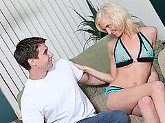 Ella Marie Sucks And Gets Fucked : Lanky short-haired blonde Ella Marie introduces herself and answers some questions while sitting on the couch in skimpy lingerie. Shes joined by a horny dude, and he tugs her panties aside to eat out her wet pussy. She drops to her knees to suck his hard cock, and she makes her cheeks bulge with his big dick. She climbs on top to ride that rod reverse cowgirl, and he fucks her bald snatch missionary. She gets on all fours to get pounded doggy style, and he finally jerks his load all over her pretty face!