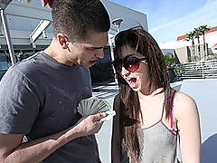 18-year old Emo Princess Fucked Raw then Booted! : Shot in true guerrilla gonzo fashion, Bruce and his buddy are about to meet up with a new, up and coming starlet, Giselle Leon and theyve got the camera to catch every detail. Shes one of your adorable, alt-rock punk chicks with the pierced nose, pale milky skin and cock-starved attitude! Bruce Venture jams his meat missile right in her barely legal mouth and watches our punk princess deep-throat his junk. The cameraman suggests that Bruce just go ahead and bang her mouth, an idea he quickly puts into action. Soon enough, tears of mascara well up and trickle down her fresh cheeks. For her next trick, she magically makes Ventures long dong disappear into her shaved hot topic goth cunt! Watch her virgin face get splattered in hot man chum!