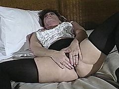 Hairy Cunt Slut Gets Her Ass Fucked : Hot sexy MILF babe Connie Childs is in bed with her stocking covered legs spread wide open and her big boobs peeking out of the top of her blouse. She plays with a big pink dildo in her tight hairy pussy while she fondles her breasts. Ignoring the dildo she starts plunging her fingers into her hot pussy. After stripping out of her blouse she slurps on a meaty cock, once it is good and hard she lies down and spreads her hairy snatch welcoming the meaty memeber inside her. Then she takes the cock in her tight ass, while she fingers her slippery snatch. Eventually she opens her mouth for a load of hot jizz.
