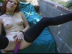 Gorgeous Hairy Red-Head Pussy Ever Seen!!! : Sultry redhead Eve has a red bush to match! Its time for some outdoor fun on a blanket as she takes a big purple dildo deep into her slick hole and cums hard. She strokes her wet pussy over and over again with the mammoth toy, fingering her clit, and cumming again. Shes still ready for more though. When the hot Mexican dude sees her hairy hole spread wide, and those hard nipples on a pair of perfect tits, he stops his stroll, drops his pants, and joins in on the fun. Eve sucks his cock hard and rides his pole cowgirl as she comes to a screaming climax.