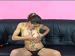 Young Hairy Snatch Gets Filled with Big Cock : Dominique shocks and titillates in her yellow string bikini! She pops off her top and plays with her perky small tits, then drops her bottoms so you can get a quick look at her hairy snatcheroo! Fuck, that pussy looks sexy! Enjoy her masturbation session where she plows herself stupid with a toy then gets the real thing when her stud bangs her hairy cunt out!