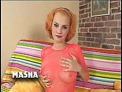 Mashas Hairy Beaver Is Hungry For a Big Black Cock : Masha is a very kinky little redhead with perky tits and a naturally hair snatch. She enjoys showing off her nice breasts while ramming her favorite purple dildo into her delightfully moist cunt. Today she is prepping her pussy for Joachims huge bulging black cock. She begins by wrapping her lips around his shaft, getting it nice and lubed for her tiny fuckhole. He drills his black meat into Mashas slippery holes in multiple positions as she screams with joy. He even goes balls deep into Mashas butthole before pulling out to spray his hot sticky cum all over her hairy pussy.