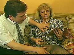 This Sexy Blonde Milf Lets 2 Guys Fuck Her Hairy Pussy : Insatiable MILF needs not one but two cocks to satisfy her appetite! She gets felt up on the couch by two dudes and soon finds herself juggling two cocks as one guy fondles her hairy cunt. Watch her switch off dicks and get fucked in every one of her furry fuck slots!