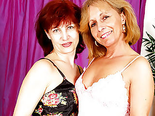 Mature Lesbians Scissor-Fuck Each Other! : This scene kicks off with perverted gilf, Wanda laying wet kisses on her withered old fuck buddy, Koko. Theres life in them old bones yet! After gingerly peeling their granny panties off, these mature minxes go wild licking and flicking each others juicy pink clits. Now for the main attraction! Wanda shoves a double-headed dildo in her pussy and fucks Koko hard by scissoring their cunts together!