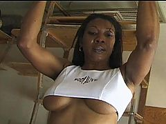 Sexy Andy Lace Gives Her Pussy A Thorough Workout : Black Babe Andy Lace Exercises Naked Showing Off Her Big Tits and Playing With Her Wet Pussy