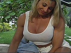 Francesca Petitjean Spreads Her Pussy For Steven Johnson : Sexy muscled MILF Francesca Petitjean gets her swollen pussy stuffed to the brim with cock and cum