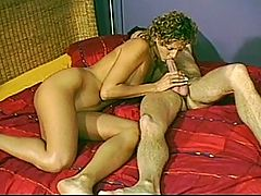 Renata Gets Down And Dirty With This Mans Huge Cock. : Horny Renata Rey and her girlfriend sharing a long hard cock until they both get satisfied