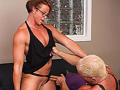 Miss Hot Butt Gets Her Hot Butt Into Gear For This Sexy Stud. : Milf body builder Miss Hot Butt strips down and gets pounded hard by her boyfriend, leading to a thick cum load on her face