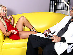 Sienna Takes Big Black Cock Inch By Inch : As soon as black doctor Sledge Hammer walks in on pretty blond honey Sienna Splash, he knows that the only treatment that she needs is a mouthful of his big hard cock! The body on this babe is outstanding, with a clean shaven pussy and a pair of mouthwatering pert little titties. With her big blue eyes and blond hair, this tiny cutie is the perfect package! Sledges massive pole looks so big in her mouth, and she looks up at him with those doe-like eyes as she deepthroats. However its the reverse cow girl where this scene really shines, with Sienna slowly pushing that extremely tight pussy down on the black meat inch by inch.