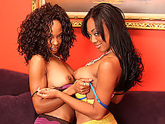 Ebony Lesbians Sucking Shaved Snatch : Sexy black whore Evanni Solei is relaxing on the couch when her horny ebony girlfriend comes in with a couple of vibrators and begins to kiss Evanni on the mouth and on her gorgeous chocolate tits. Evanni peels off her pants and lies back so her friend can probe her warm wet vagina hole with her fingers as she gently licks her clitoris and kneads her full breasts, eventually bending her over so she can get access to her yummy asshole with her tongue. After some hot oral action in the sixty nine position the dirty black sluts get out their vibrators and go to work on each others cunts, kissing each others mouths as they both reach orgasm.