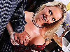 MILF Boss Fucks Employee With Big Dick : When your boss is a hot MILF with big tits like Maya Devine, its pretty tough to turn down the invitation to fuck the shit out of her. Our boy McLovin whips out his massive caramel colored rod for this cock-fiend whore to blow. Maya has got some serious cock-sucking skills to go along with her thirst for the dick. Her huge, but slightly lopsided titties make for some great cock-slapping and her shaved clam is just calling for a thick dick to get stuffed up in there. Maya gets fucked like a good whore before McLovin dumps a fresh load of cum all over her face and boobs.