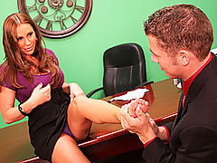 Sky Swallows Her Employees Hot Cum Load : Big titted MILF Sky Taylor is an aggressive minx who wont take no for an answer. Stud Chris Johnson knows better than to challenge her commands, so when she perches on the edge of her own desk, hitching up her short skirt and revealing her panties, he knows that he had better perform his oral duties well! Chris pulls Skys panties to one side and tongues her shaved slit, making her quiver as his tongue touches her clit. Then he bangs her butt over the desk, in missionary, doggy and with Sky bouncing on top. She kneels in front of her employee in a very un-boss like manner to swallow his juicy cumload. What a filthy slut bag!