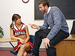 Tight Asian Cheerleader Gets Pussy Rocked By Teacher : When this hot captain of the cheerleading squad gets caught smoking on school grounds, the teacher threatens to tell her parents unless she dines on some dick. She takes him up on his offer and swallows a footlong cock before taking it deep inside her tight and moist asian pussy. Watch as her ass gets slapped silly while riding the teachers cock, before she takes a warm load on her tongue.