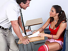 Sexy Teen Scorcher Lizz Discovers Lee Stones Porn Past! : One of professor Lee Stones students just discovered his legendary reign as a porn star! Brunette scorcher, Lizz Tayler admits to fucking herself to his old movies and coyly seduces Lee back into old form right on his teachers desk. With a perfect, tight body on her, how the fuck could he refuse! What this naive little slut has seen in the movies is totally different in real life! Lizz has trouble letting Lee fit in his ridiculously long dick in her bald pussy, but after awhile, hes riding him wildly until he burps his worm, covering her entire tongue with heaps of hot jizz!