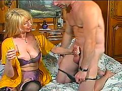 Hot MILF In Lingerie Takes Hard Raw Cock : Sexy mature blond Raven is fucking insatiable! She is just one of those dirty old bitches who never grew out of having hardcore sex at every opportunity shes managed to shack up with a balding but extremely virile stud who has got a massive ball sack that is overflowing with hot jizz. Theres nothing that this horny tart loves more than getting a hard, dominating screwing and then having all of her holes filled with jism - multiple times in an evening! In this clip she poses in a couple of different lingerie outfits, and then we see her giving up her sweet pussy and even her ass hole to the stud in the privacy of the bedroom.