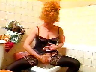 Stacked Redhead Creamed On Her Huge Tits : The lucky guy who gets to screw delicious redhead MILF Fontaine is in for a fantastic afternoon! First we see Fontaine shaving her pussy over the toilet, paying special attention to the lips and getting them perfectly smooth - so much the better with which to extract the sperm from a cock! The oral goes both ways, with her young suitor getting his dick blown to start with, the happy recipient of years and years of cocksucking experience. Then the young stud licks the older ladys pussy, commenting on how smooth and delicious the sweet poon is. The scene is rounded out with some hardcore pussy fucking, followed by a big titty cumshot.