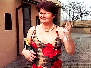 Mature Dame Banged In The Ass By Waiter : Mature Dame Marisstela is passing a sidewalk cafe when she is invited inside by the attractive young waiter. She giggles like a schoolgirl as she follows the stud inside, only to be shocked when he whips out his large and bulging dick! Unlike her own hairy pussy, the dick and balls are clean shaven and they look delicious - the mature babe just cant help herself! After she has taken her first mouthful of dick in years, she lies down on the floor while the stud mounts her in her pussy and ass. Thats right - within about 15 minutes of meeting him, this mature whores getting reamed in the butt! She wont take a creampie, swallowing instead.