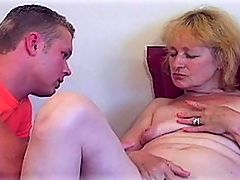 Blond MILFs Hot Pussy Licked To Orgasm : Pretty but sex starved blond MILF Eva knows that she has got herself a winner when muscle stud Brian walks in the door carrying his box of tools. He gives her a long, excited look, gaping at her firm body from her pert little tits down to her hot ass. He doesnt even bother to enquire about the job, just pushing the sexy MILF down onto her favorite chair, spreading her legs and licking and fingering her pussy. Eva moans and arches her back as Brian makes her cum, using two fingers to scrape the inside of her slippery hole while he tickles her clit expertly. For such a young dude, this guy really knows how to eat a woman out!