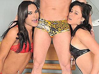 Horny Tranny in FTM Threesome : When your wife says that she wants something different, the best thing you can do is give her a tranny to have fun with. Thats exactly what Alex Victor did, ending up in a threesome with his wife and shemale friend. Thayla Andrade and Luana Azevedo are both thrilled for the experience, making sure that theyre going to be enjoying each other to the fullest. They do give Alex plenty of attention, making sure that his dick is not left wanting with plenty of passionate blowjobs, sex and stroking.