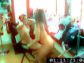 Stripper Dikes 01 : A cam installed in the strip club changing room yields excellent lesbian videos of strippers fucking!
